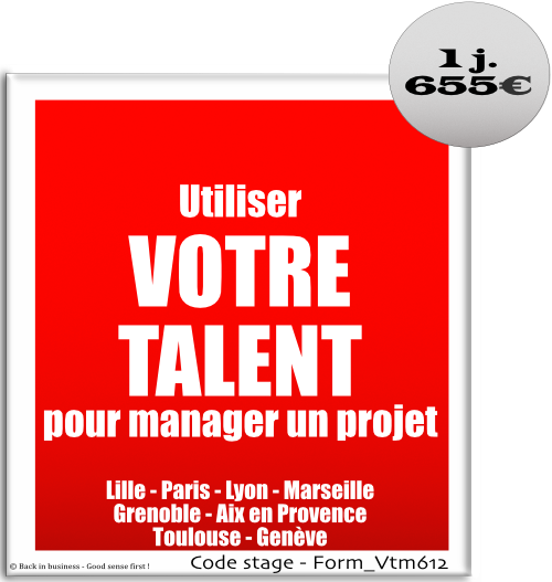 Utiliser votre talent pour manager un projet - Management de projet - Management hors hiérarchie - Management transversal - Formation professionnelle Inter / intra entreprise - Back in business - Good sense first !.