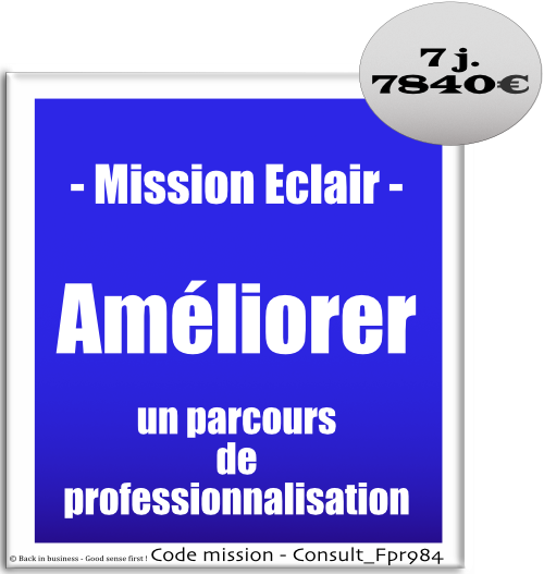 Mission éclair, améliorer un parcours de professionnalisation. formation, formateur, ingénierie pédagogique, dif, cpf, professionnalisation, réforme. Conseil en transformation - conseil en organisation - Conseil en management - Conseil en talent management - Back in business - Good sense first !