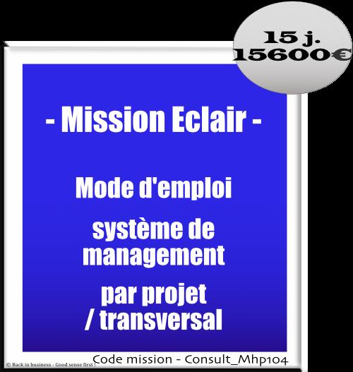 Mission éclair, mode d'emploi système de management par projet / transversal, Conseil en transformation - conseil en organisation - Conseil en management - Conseil en talent management - Back in business - Good sense first !