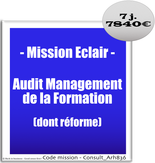 Mission éclair, audit management de la formation (dont réforme de la formation). dif, cpf, cif, professionnalisation, plan de formation, financement, opca, Conseil en transformation - conseil en organisation - Conseil en management - Conseil en talent management - Back in business - Good sense first !