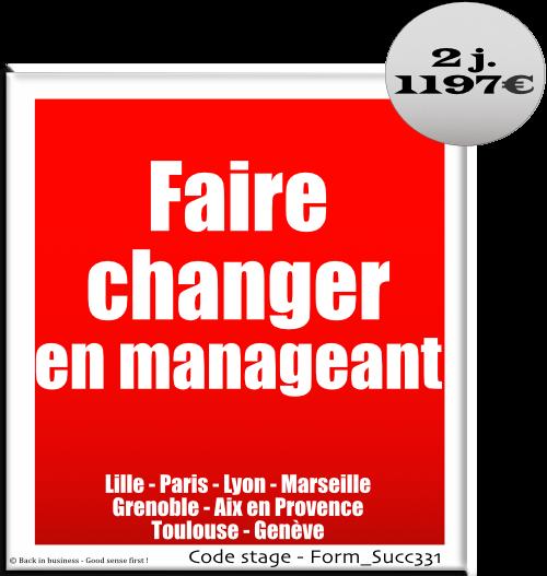 Faire changer en manageant - Management hiérarchique - Leadership - Changement - Formation professionnelle Inter / intra entreprise - Back in business - Good sense first !.