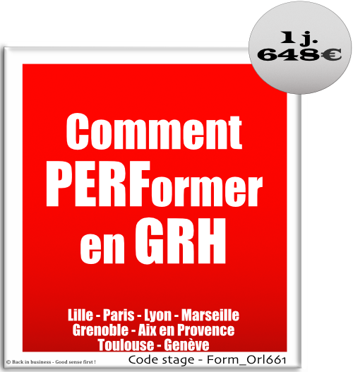 Comment performer en GRH - performance - rh - talent management - pilotage - Formation professionnelle Inter / intra entreprise - Back in business - Good sense first !