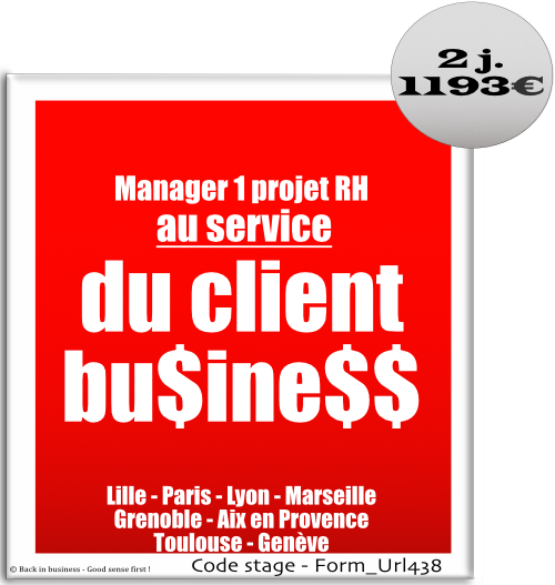Manager un projet RH au service du client business - HRBP - HR Business partner - ressources humaines - GRH - management des talents - Formation professionnelle Inter / intra entreprise - Back in business - Good sense first !