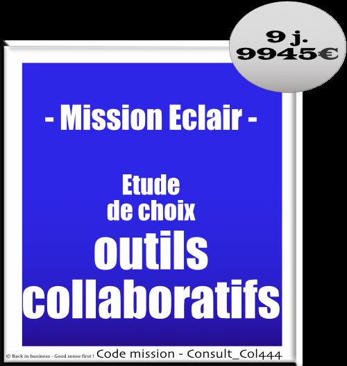 Mission éclair étude de choix outils collaboratifs, Conseil en transformation - conseil en organisation - Conseil en management - Conseil en talent management - Back in business - Good sense first !