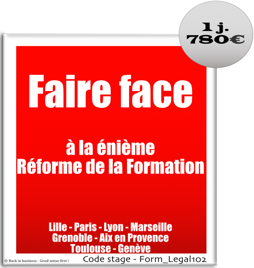 Formation professionnelle Inter / intra entreprise - Back in business - Good sense first !