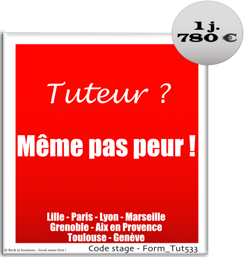 Tuteur ? Même pas peur ! - tutorat, tuteur, apprenti, apprentissage, professionnalisation, Formation professionnelle Inter / intra entreprise - Back in business - Good sense first !