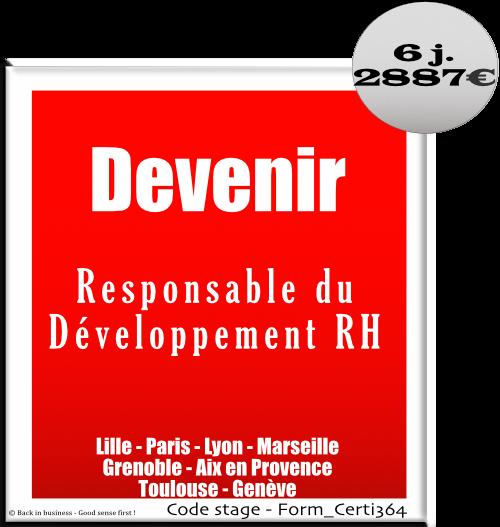 Devenir Responsable du Développement RH - HRBP - HR business partner - Talent management - Compétences - évaluation - performance - Formation professionnelle Inter / intra entreprise - Back in business - Good sense first !