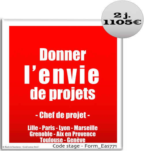 Donner l'envie de projets - Chefs de projet - Management de projet - Formation professionnelle Inter / intra entreprise - Back in business - Good sense first