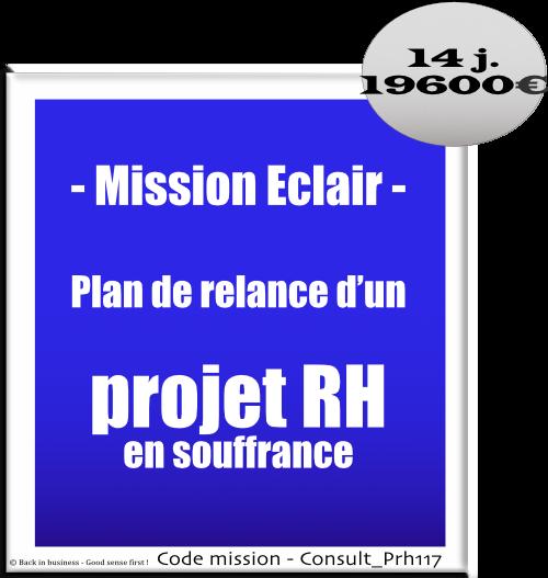 Mission éclair, plan de relance d'un projet rh en souffrance. Conseil en transformation - conseil en organisation - Conseil en management - Conseil en talent management - Back in business - Good sense first !