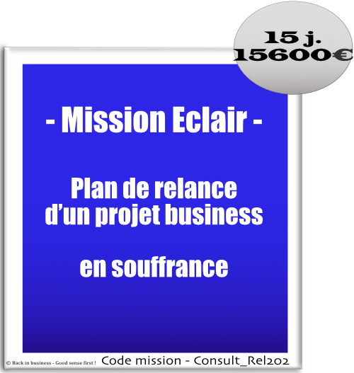 Mission éclair, plan de relance d'un projet business en souffrance. Conseil en transformation - conseil en organisation - Conseil en management - Conseil en talent management - Back in business - Good sense first !