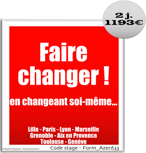 Faire changer en changeant soi-même. développement personnel, Formation professionnelle Inter / intra entreprise - Back in business - Good sense first !