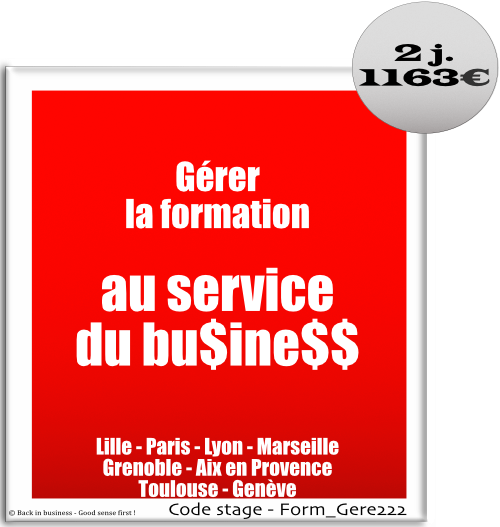 Gérer la formation au service du business - dif, cpf, réforme de la formation, cif, professionnalisation, Formation professionnelle Inter / intra entreprise - Back in business - Good sense first !
