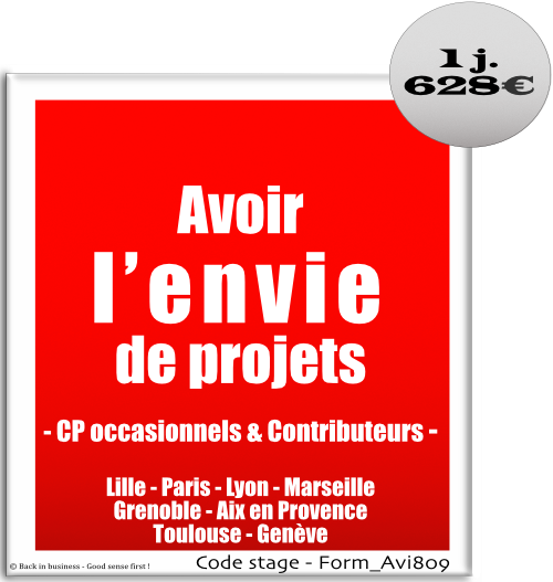 Avoir l'envie de projets - Chef de projet occasionnel et contributeurs - Management de projet - Formation professionnelle Inter / intra entreprise - Back in business - Good sense first !