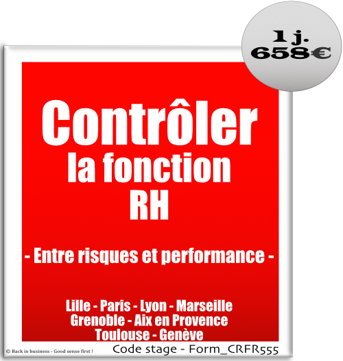 Contrôler la fonction RH, entre risques et performance - management des risques - pilotage - performance - rh - talent management - gestion du personnel - droit du travail - Formation professionnelle Inter / intra entreprise - Back in business - Good sense first !