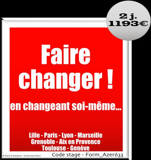 Faire changer en changeant soi-même - Changement - Accompagnement - Change management - Formation professionnelle Inter / intra entreprise - Back in business - Good sense first !