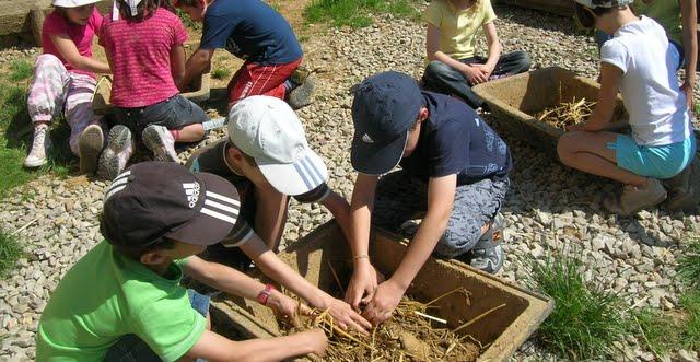 Les enfants mélangent le torchis