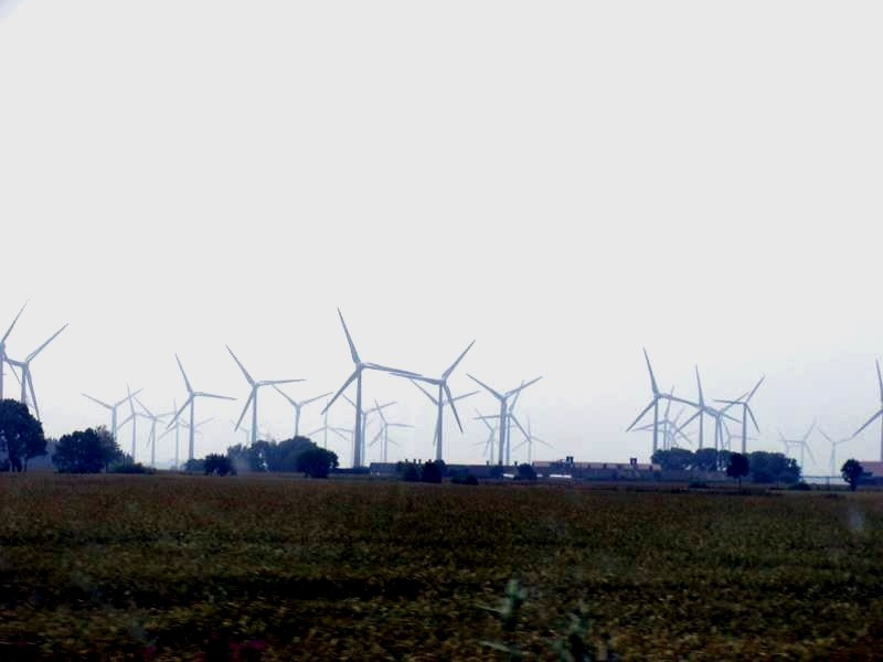 Jede Menge Windenergie zur Linken.....