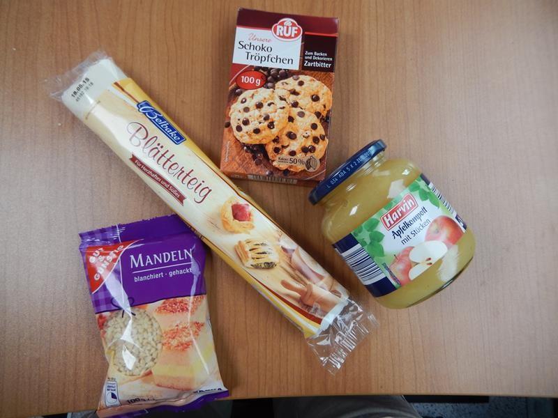 die süße variante mit Apfelmuß, Mandeln und schokoraspel