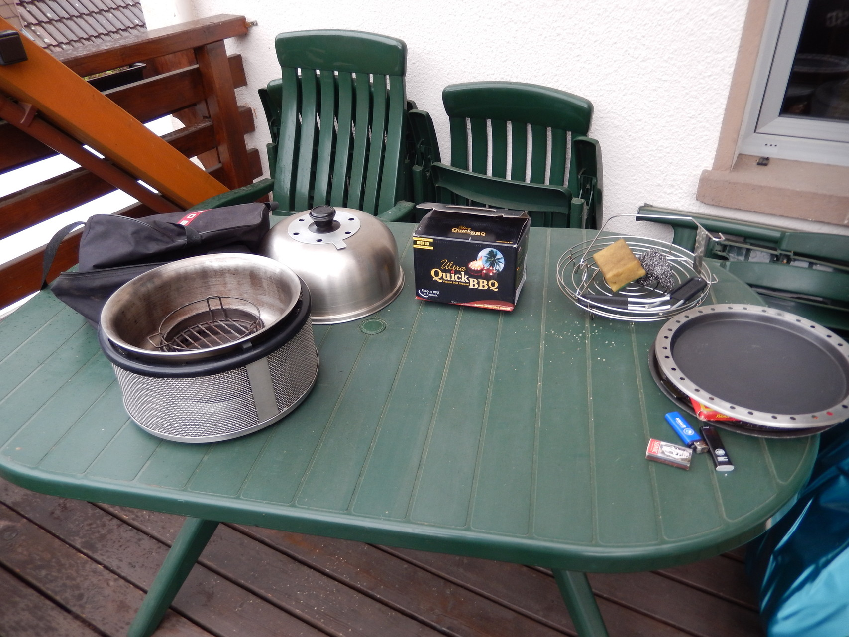 zu Hause auf dem Balkon hab ich den Cobb vorbereitet