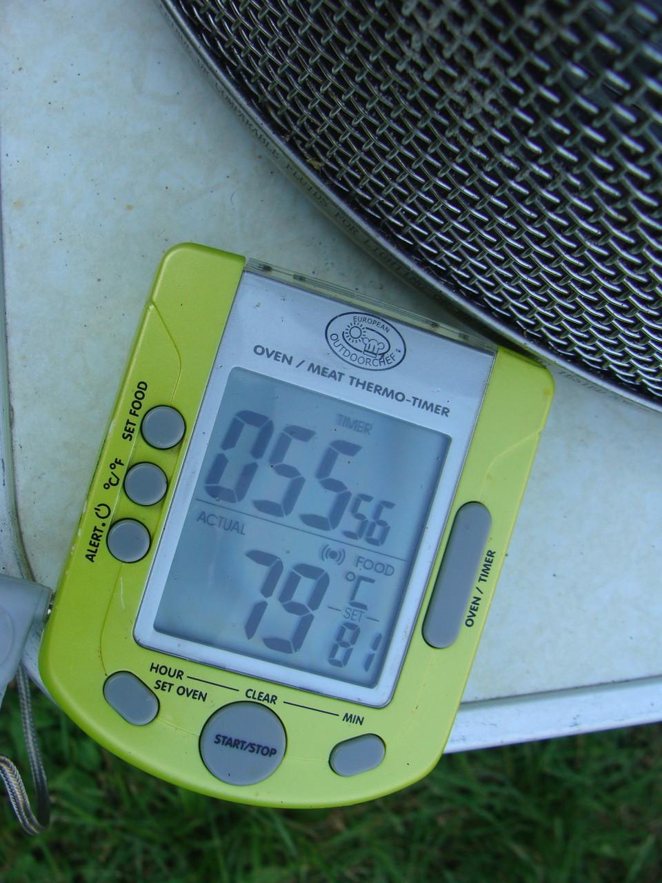 Die Kernthemperatur sollte bei 78-80° liegen. Dann ist der Braten saftig und fertig.