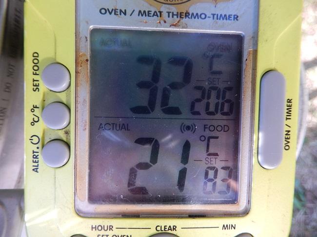 anfangstemperatur von 21°. Es sollen so in etwas 80° - 84° erreicht werden im inneren des Grillgutes
