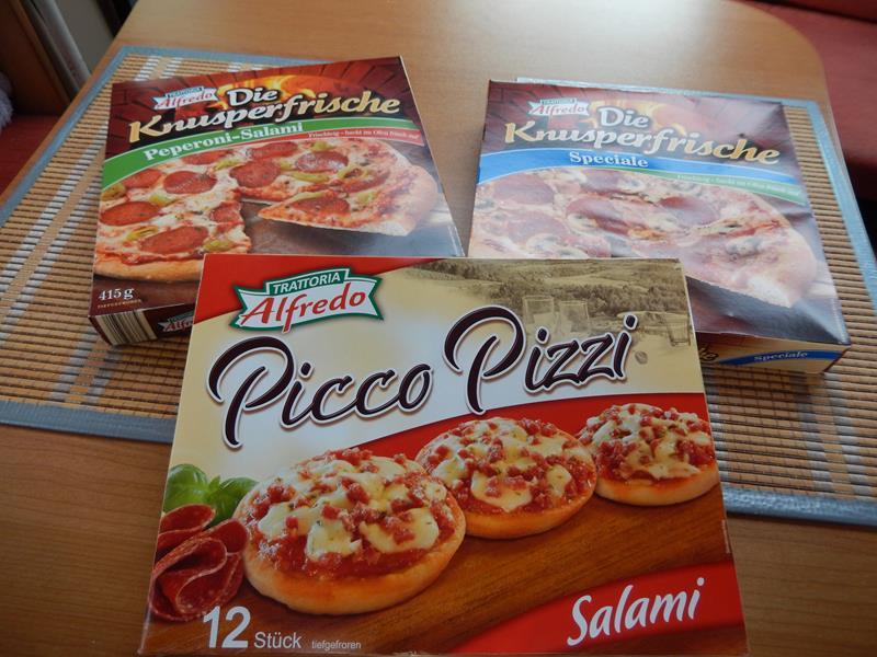 Das sind die Pizzen die wir gekauft haben