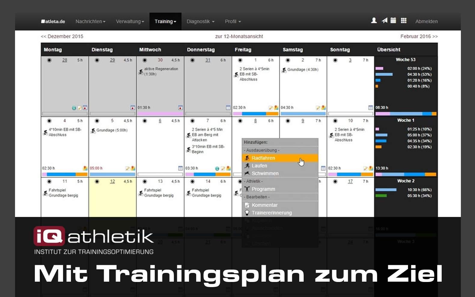 Online-Trainingsprogramme und Online-Coaching für Laufsport, Triathlon, Radsport, Kraft- und Athletiktraining