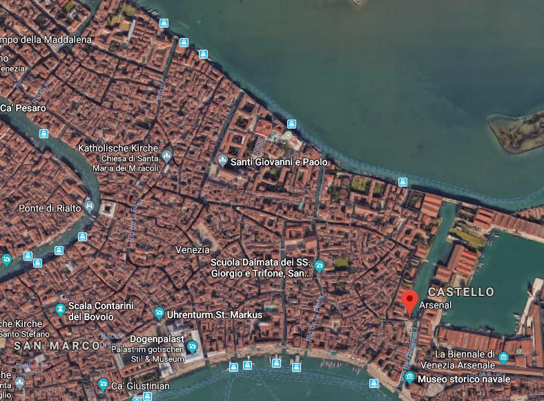 Großansicht des genauen Standorts in Venedig