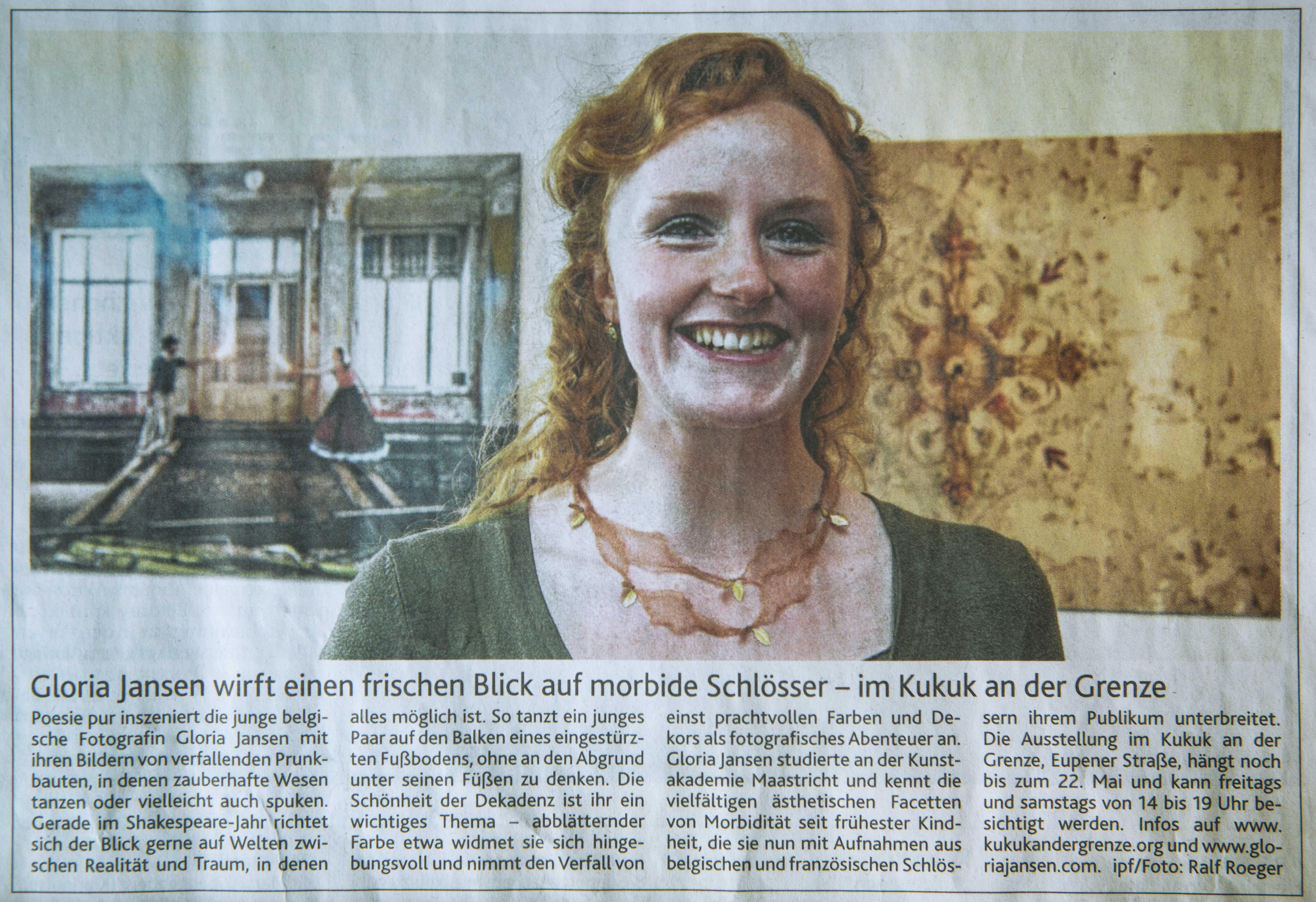 """""""Gloria Jansen wirft einen frischen Blick auf morbide Schlösser"""", Aachen Nachrichten, 28.April 2016, Nr.99, Germany"""
