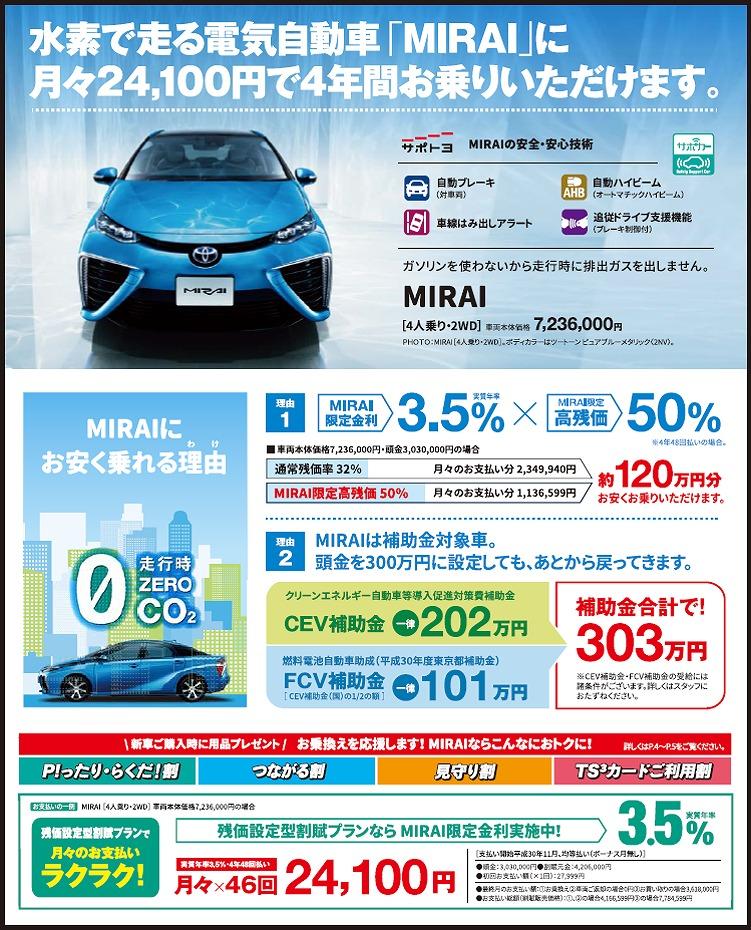 トヨタ水素自動車ミライのお得なプラン