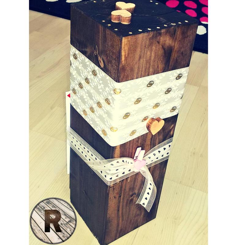Geldbox für eine Hochzeit (Balkenreste aus einer Zimmerei / Upcycling)