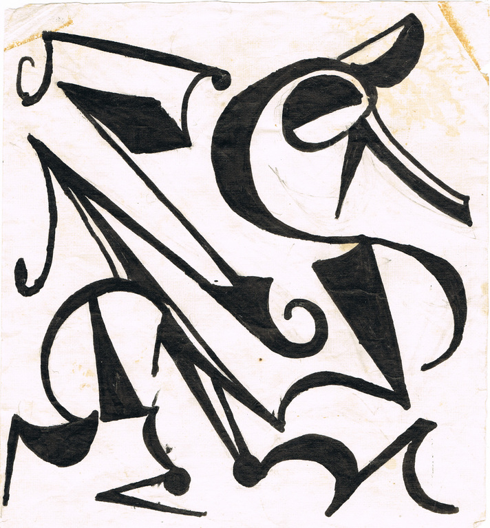 Entwurf für Linolschnitt / Esquisse pour gravure sur linoléum / Draught for linocut 1972