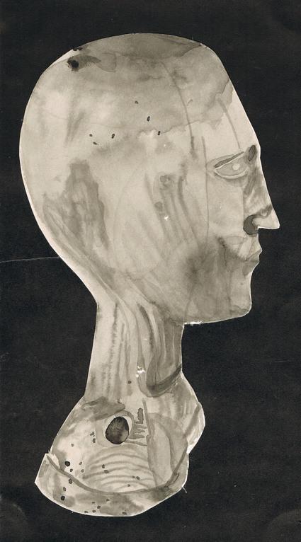 Kopie einer Holzbüste ab Foto (Tusch)  1973