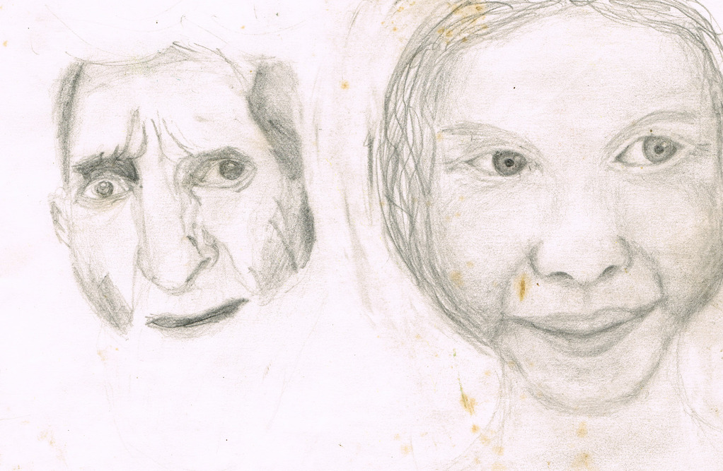 Porträts (l. abgezeichnet, r. Phantasie) Portraits (g. copié, d. phantaisie) Portraits (l. copied, r. phantasy), 1974