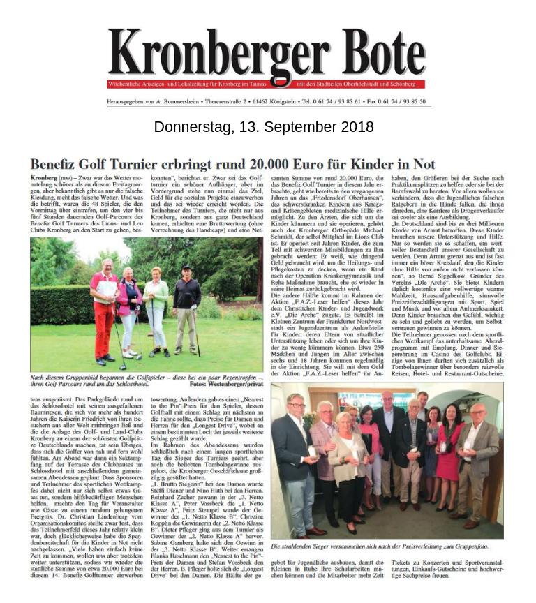 Kronberger Bote Artikel Benefiz Golf Turnier erbringt rund 20.000 Euro für Kinder in Not - Lions Kronberg