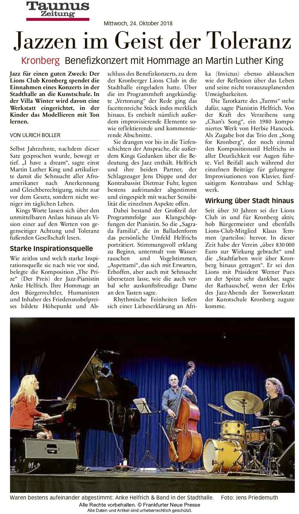 Taunus Zeitung Artikel Jazzen im Geiste der Toleranz - Lions Kronberg
