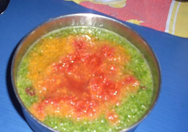 Salat, Karotte, Apfel, Himbeere püriert