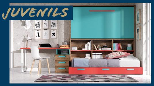 dormitori juvenil modern amb llitera de llit abatible, escriptori i cadira