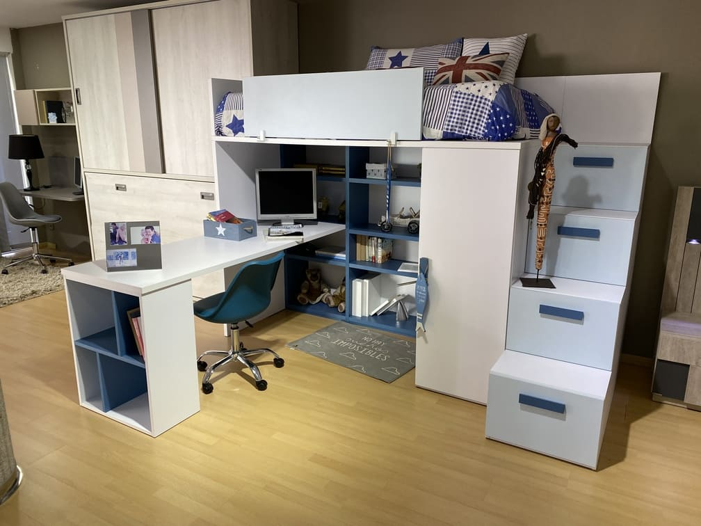 "Juvenil cama 250cms escritorio 200cms PORTES INCLUIDOS HASTA 40KM ""1490€"""