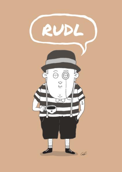 Das Bild zeigt Rudl Anatol Semmelschmarrn, eine gezeichnete Kunstfigur und Held vieler künftiger Abenteuer rund um das Thema Kaffee