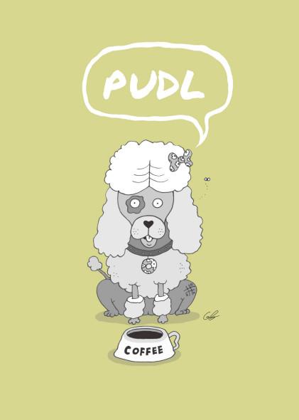 Die gezeichnete Figur Pudl zeigt einen lustigen kleinen Pudel, der schon bald als treuer Gefährte Rudl und Trudl zu Seite stehen wird
