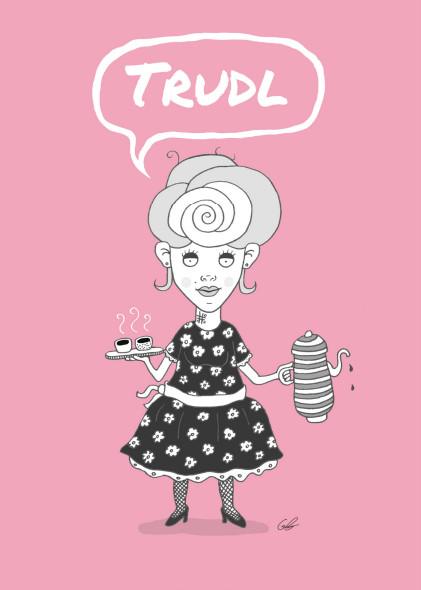 Das Bild zeigt Trudl Josefine Mohapl, eine gezeichnete Kunstfigur, die an Rudls Seite für besseren Kaffee und faire Bedingungen für Kaffeebauern und die Umwelt kämpft