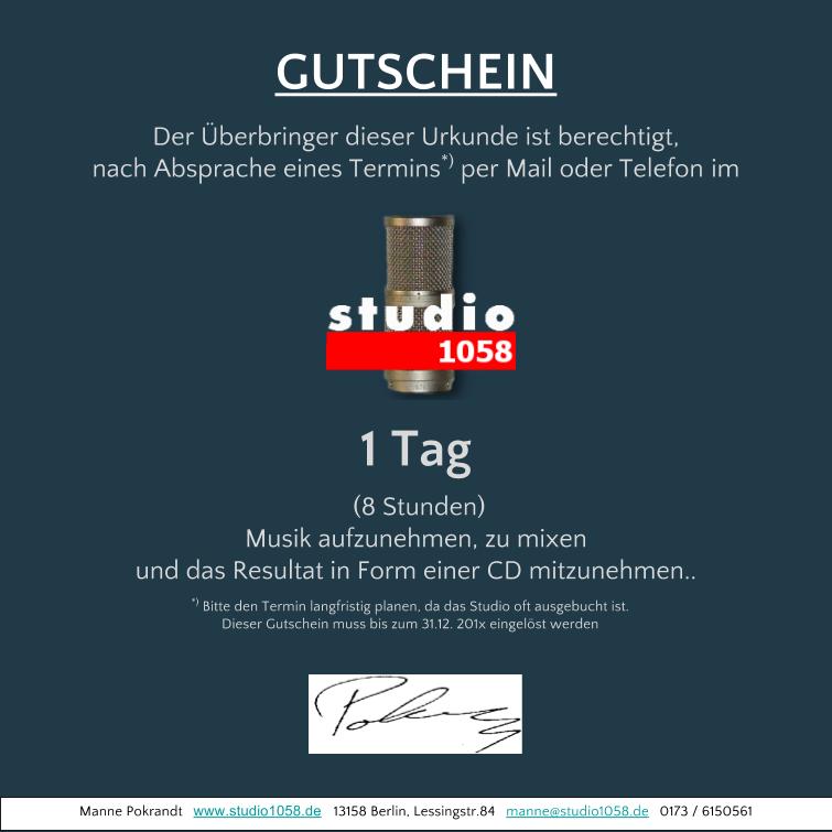 Geschenk Gutschein Tonstudio