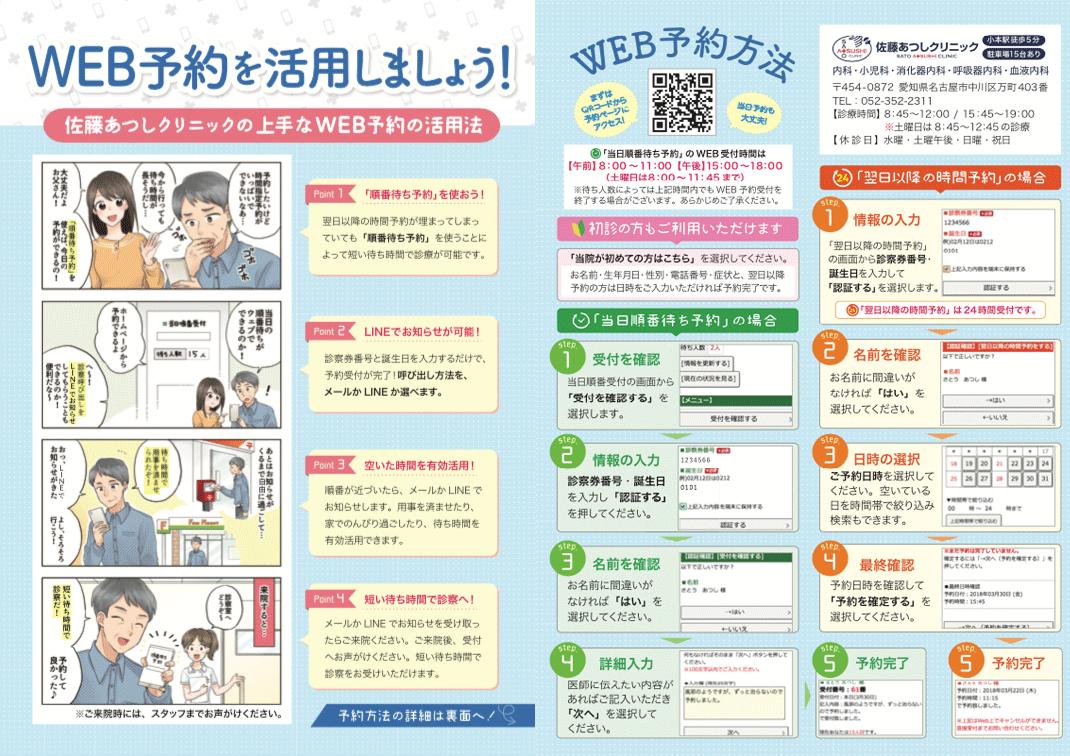 佐藤あつしクリニック様 WEB予約案内漫画チラシ制作