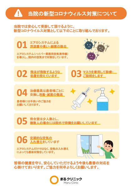 当院の新型コロナウイルス対策についてチラシ