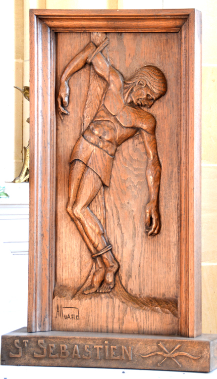 Panneau de bois avec une représentation de saint Sébastien