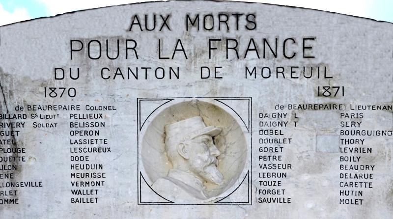 Moreuil: au dos du monument, hommage aux morts pour la France- 1870