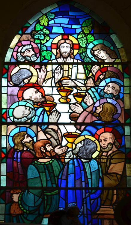 La Cène dans un vitrail de l'église de Ribeaucourt