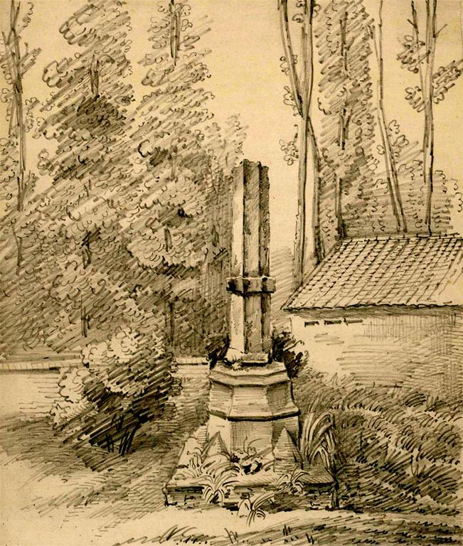 Le socle et le fût de la croix du cimetière de Béhen