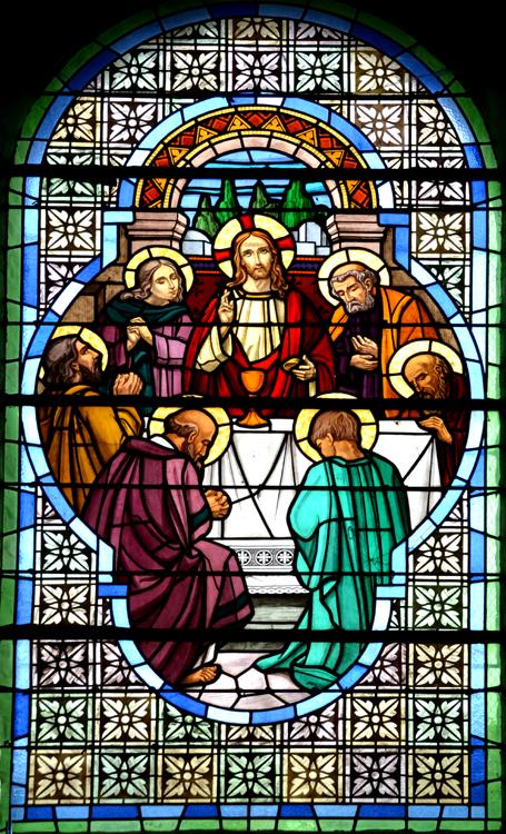 Eglise de Cambron- Représentation de la Cène dans un quadrilobe avec seulement six apôtres